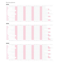 Business planner calendar template for 2018 vector