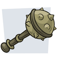 Cartoon big combat mace icon vector