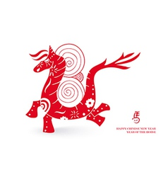 Chinese new year horse postal card vector