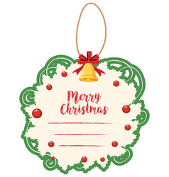 christmas card template with green border and bell vector image