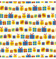 christmas gift box in rows seamless pattern vector image