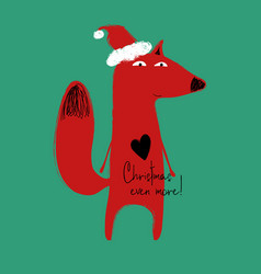 christmas greeting card with funny fox vector image