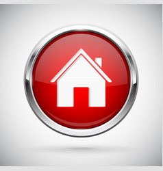 Closed icon red shiny 3d button with metal frame vector
