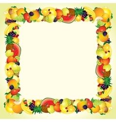 Colorful Fresh Fruits Border Design Image vector