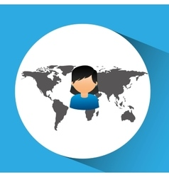 Concept globe avatar female social media vector