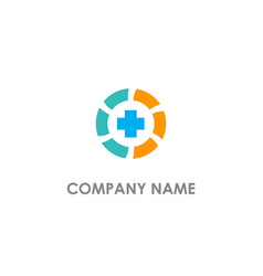 cross medic sign round logo vector image