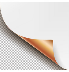 Curled metallic corner realistic paper vector