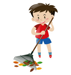 Cute boy raking dried leaves vector