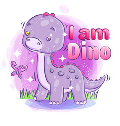 Cute dino smile with bright sparkling vector