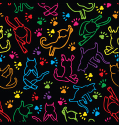 cute rainbow cats silhouette seamless pattern vector image