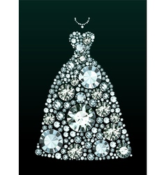 Diamond Wedding Dress vector image