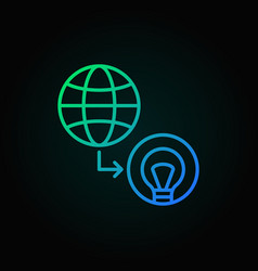 earth with bulb colored icon in thin line vector image
