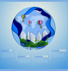eco green city on paper art background vector image
