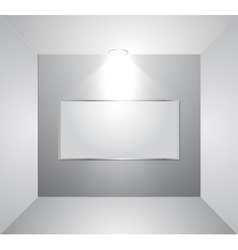 Empty gallery wall with light vector