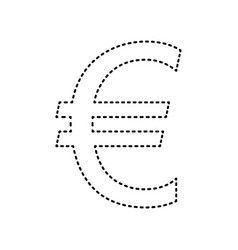 euro sign black dashed icon on white vector image