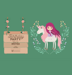 fairy with unicorn and label wooden invitation vector image