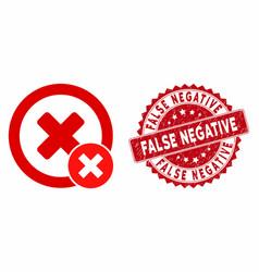false negative icon with grunge false negative vector image