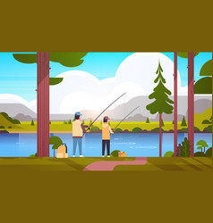 father and son fishing together rear view man vector image