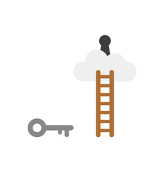 flat design concept of key reach to keyhole on vector image