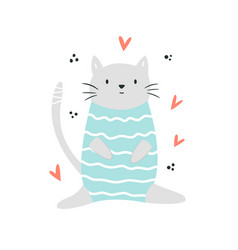 funny cat sitting in a swimming costume vector image
