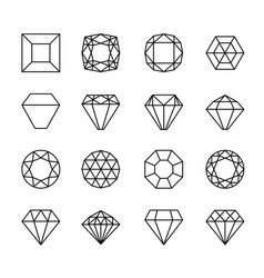 gem line icons vector image