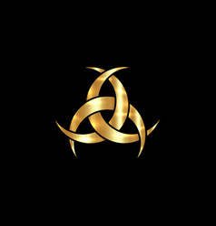 Gold three interlaced crescents moon wiccan icon vector