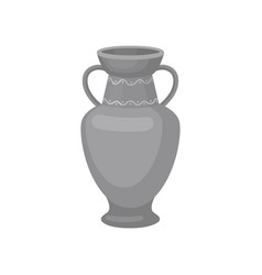 Gray jug with two handles and wide neck flat vector