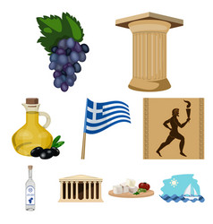 greece set icons in cartoon style big collection vector image