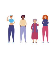Group diversity women characters vector