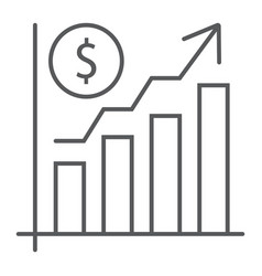 growth rate thin line icon finance and banking vector image