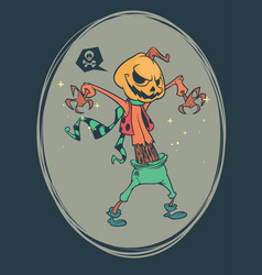 halloween scary pumpkin head scarecrow vector image