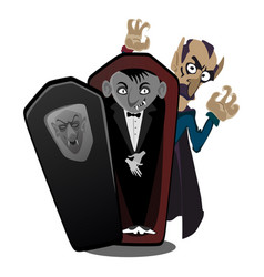 Halloween vampire in coffin draculas monster in vector