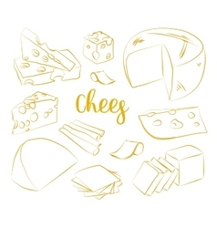 Hand drawn set of chees vector image