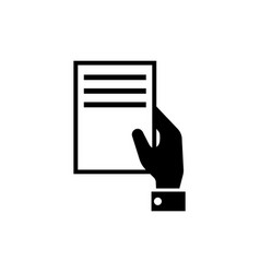 hand holding document flat icon vector image