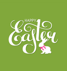 happy easter lettering with bunny and bow vector image
