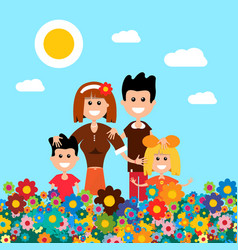 happy family on flower meadow field with flowers vector image