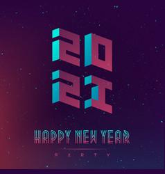 Happy new year 2021 party futuristic design vector