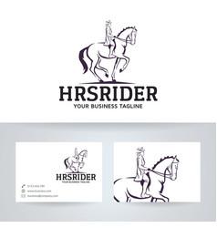 Horse rider logo design vector