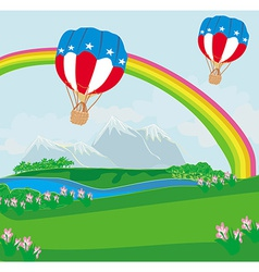 Hot Air Balloons of 4 of July in Flight vector image
