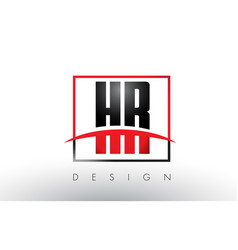 Hr h r logo letters with red and black colors and vector