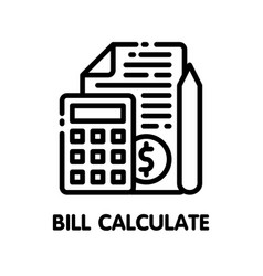 Icon bill calculate outline style icon design on vector