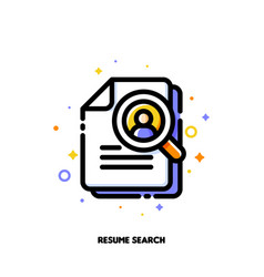 icon magnifying glass and resume for hr searching vector image