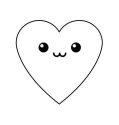 Kawaii heart love romance feeeling symbol vector