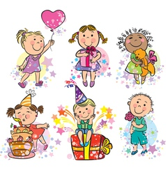 kids celebrating vector image