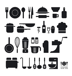 Kitchen tool icons collection vector image