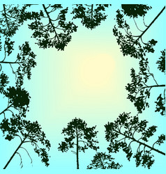Landscape with sky and pine trees vector