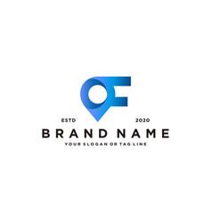 Letter f map pin logo design vector