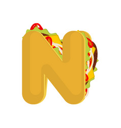 Letter n tacos mexican fast food font taco vector