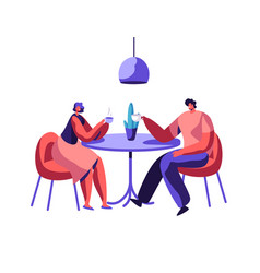 Loving couple friend sit at table drink coffee vector