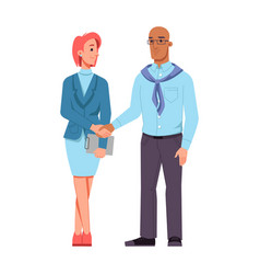 Man and woman different races shaking hands vector